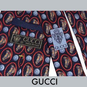 Gucci Other - GUCCI Mens SILK TIE Equestrian Horse Head Pattern
